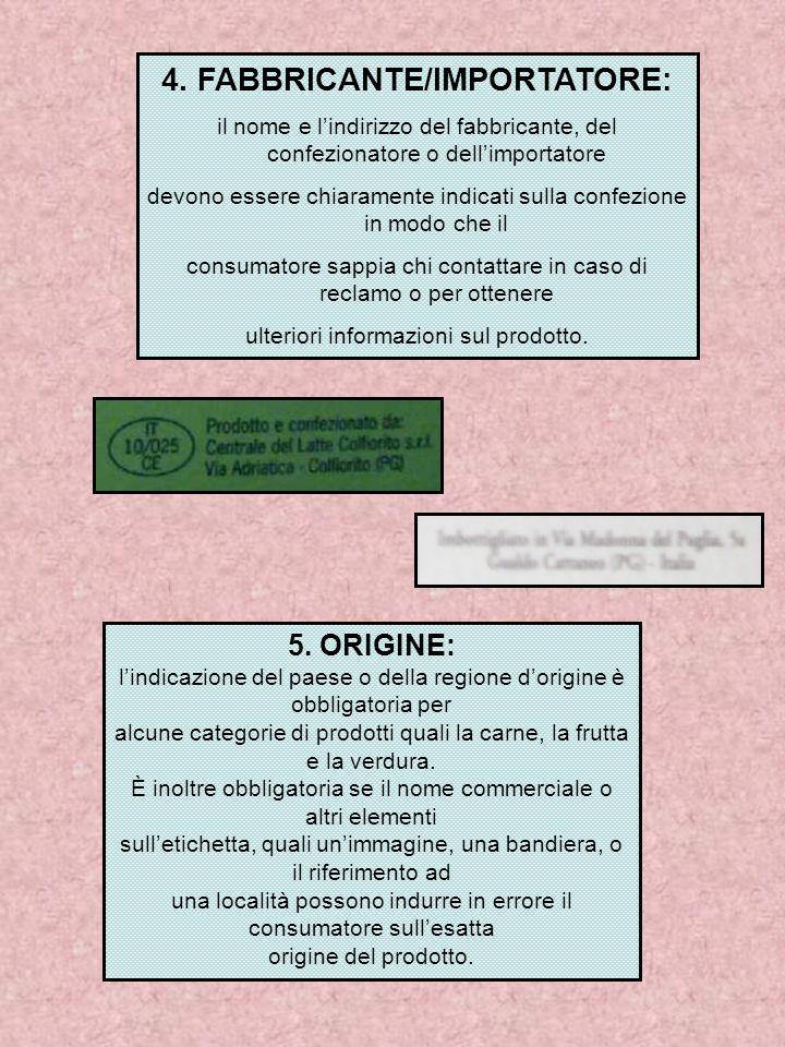 4. FABBRICANTE/IMPORTATORE: