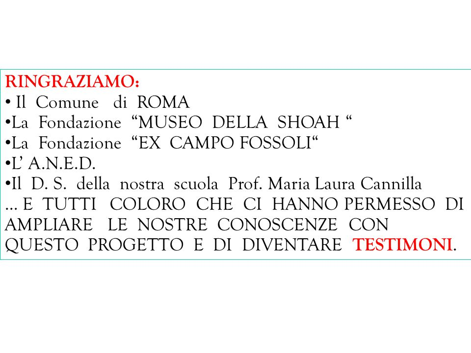 La Fondazione MUSEO DELLA SHOAH La Fondazione EX CAMPO FOSSOLI