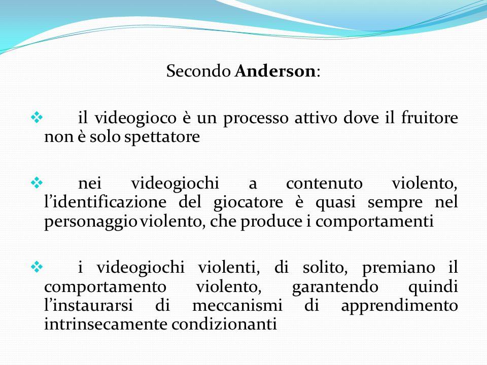 Secondo Anderson: il videogioco è un processo attivo dove il fruitore non è solo spettatore.