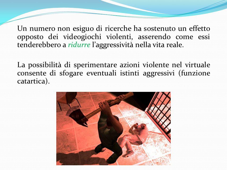 Un numero non esiguo di ricerche ha sostenuto un effetto opposto dei videogiochi violenti, asserendo come essi tenderebbero a ridurre l'aggressività nella vita reale.