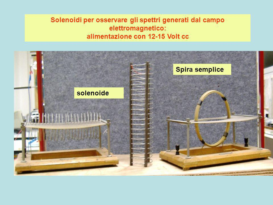 Solenoidi per osservare gli spettri generati dal campo elettromagnetico: alimentazione con 12-15 Volt cc