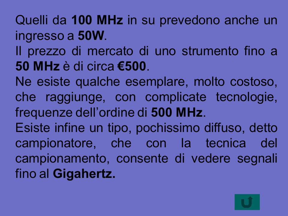 Quelli da 100 MHz in su prevedono anche un ingresso a 50W.