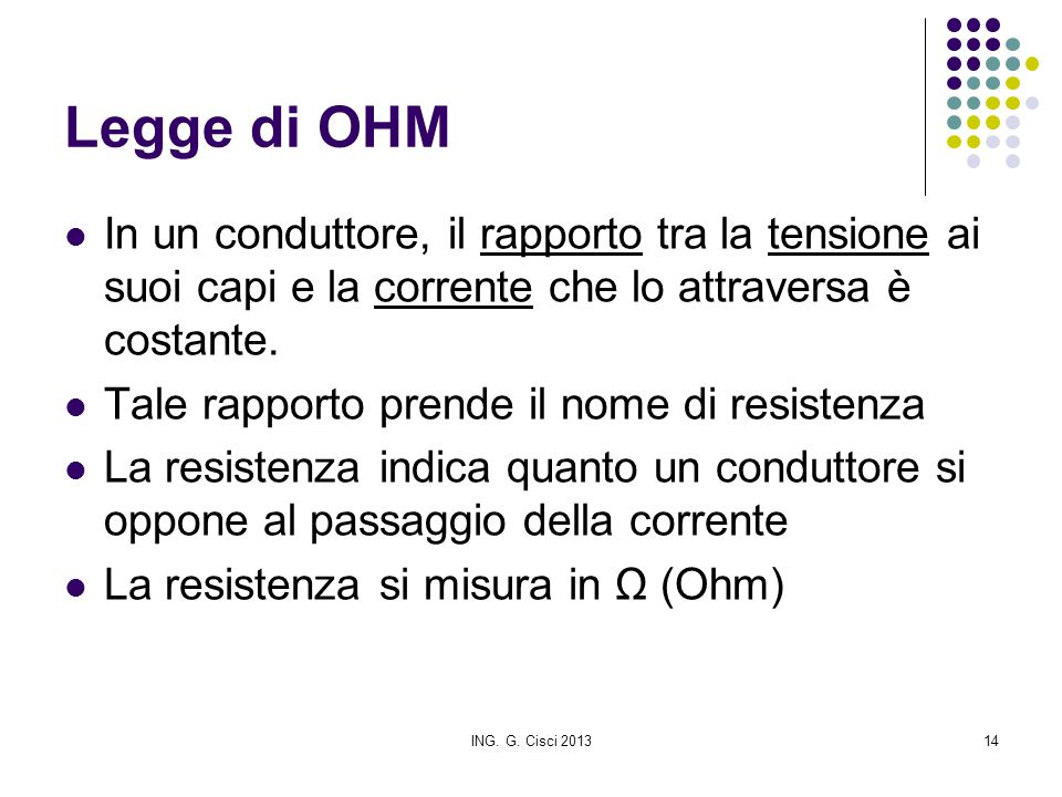 Legge di OHM In un conduttore, il rapporto tra la tensione ai suoi capi e la corrente che lo attraversa è costante.