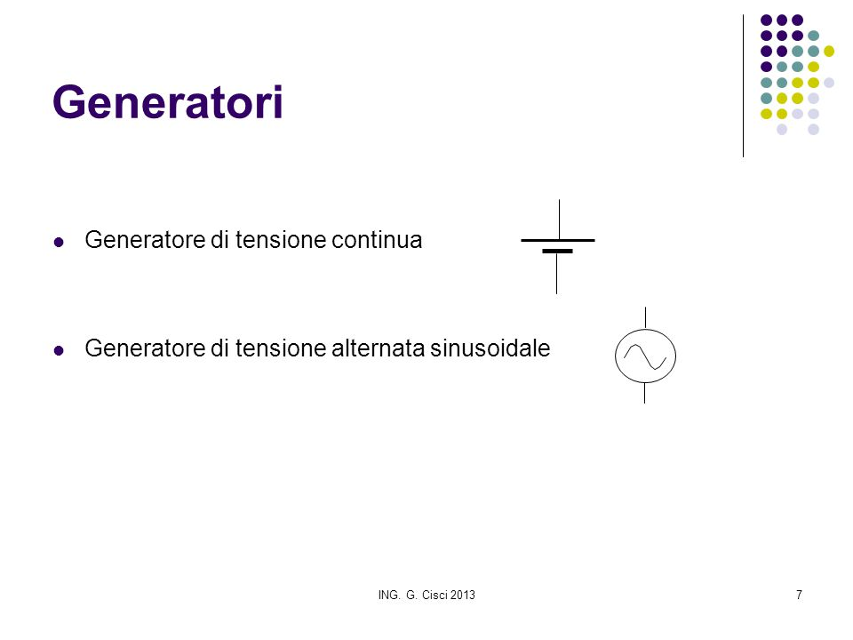 Generatori Generatore di tensione continua
