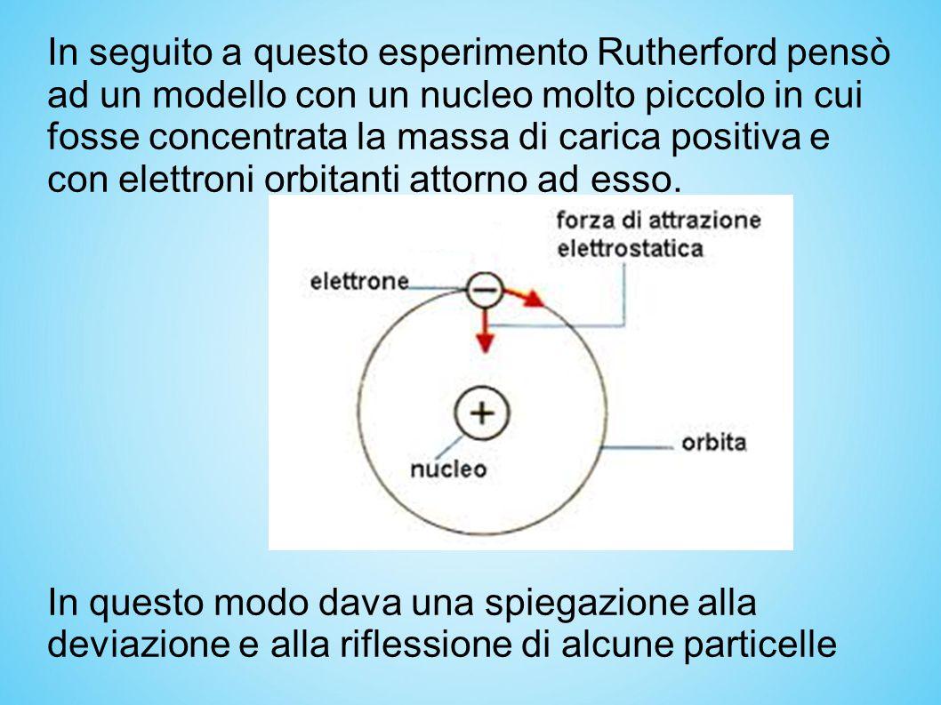 In seguito a questo esperimento Rutherford pensò ad un modello con un nucleo molto piccolo in cui fosse concentrata la massa di carica positiva e con elettroni orbitanti attorno ad esso.