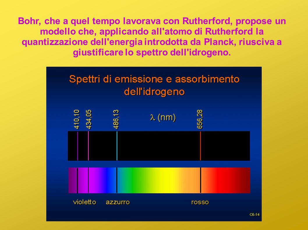 Bohr, che a quel tempo lavorava con Rutherford, propose un modello che, applicando all atomo di Rutherford la quantizzazione dell energia introdotta da Planck, riusciva a giustificare lo spettro dell idrogeno.