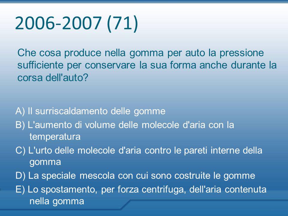 2006-2007 (71) Che cosa produce nella gomma per auto la pressione sufficiente per conservare la sua forma anche durante la corsa dell auto