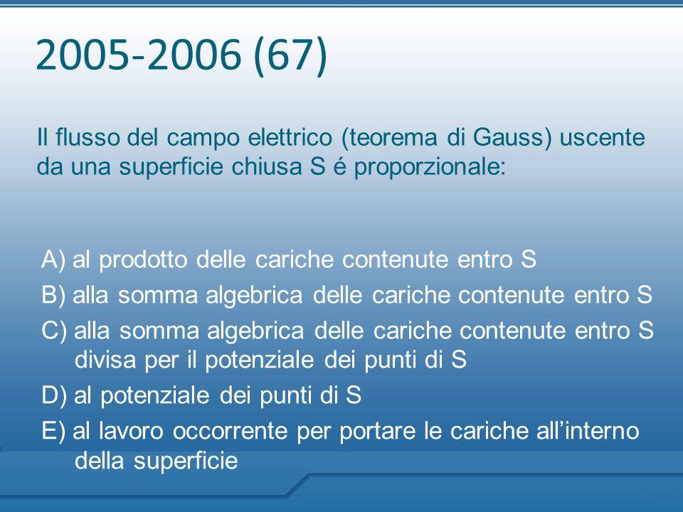 2005-2006 (67) Il flusso del campo elettrico (teorema di Gauss) uscente da una superficie chiusa S é proporzionale:
