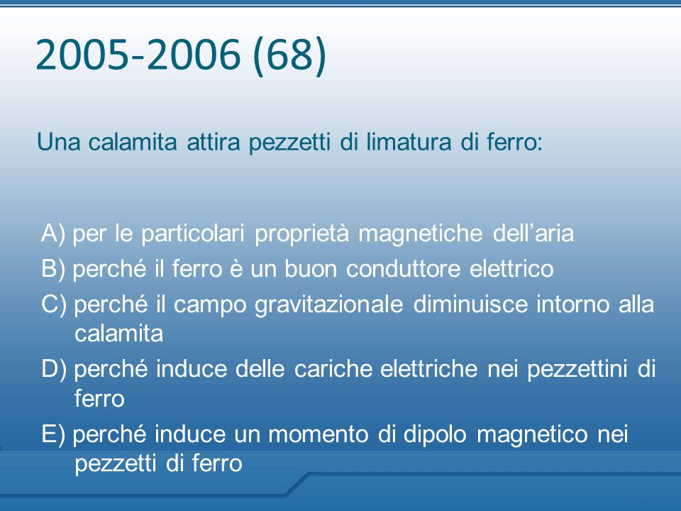 2005-2006 (68) Una calamita attira pezzetti di limatura di ferro: