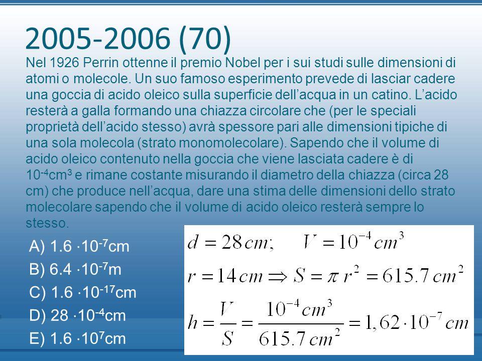 2005-2006 (70) A) 1.6 ⋅10-7cm B) 6.4 ⋅10-7m C) 1.6 ⋅10-17cm