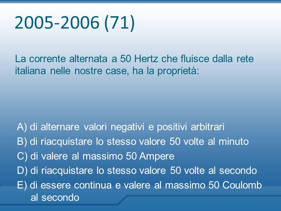 2005-2006 (71) La corrente alternata a 50 Hertz che fluisce dalla rete italiana nelle nostre case, ha la proprietà: