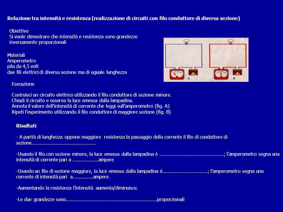 Relazione tra intensità e resistenza (realizzazione di circuiti con filo conduttore di diversa sezione)