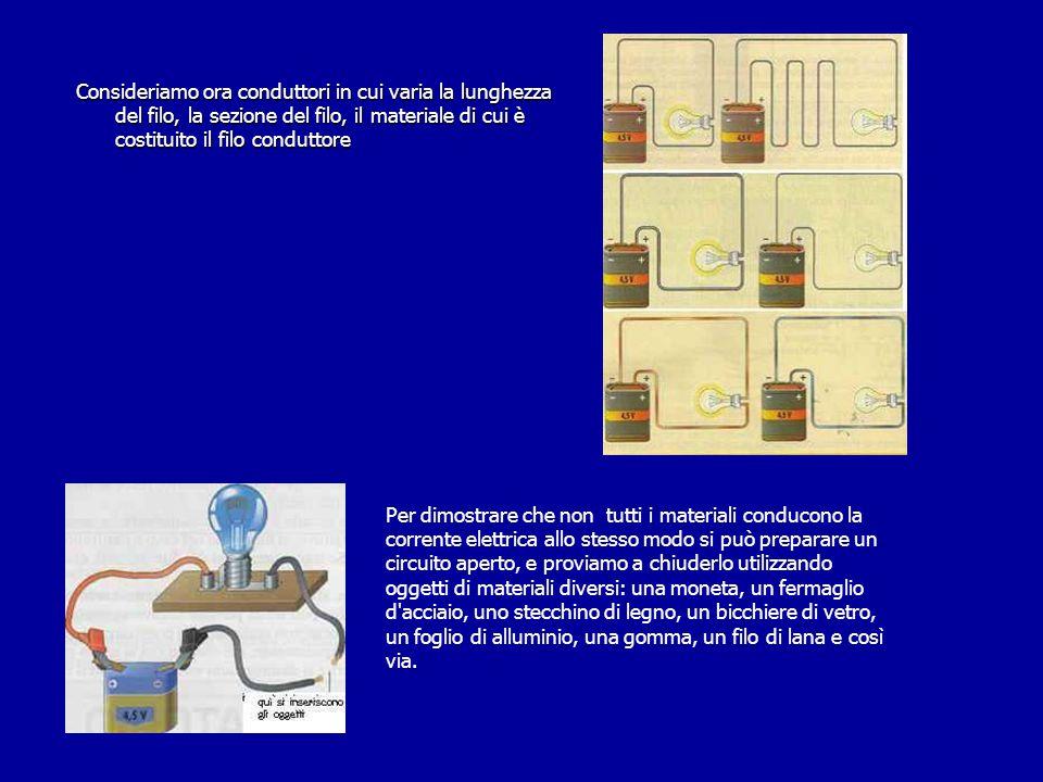 Consideriamo ora conduttori in cui varia la lunghezza del filo, la sezione del filo, il materiale di cui è costituito il filo conduttore