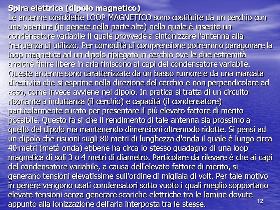 Spira elettrica (dipolo magnetico) Le antenne cosiddette LOOP MAGNETICO sono costituite da un cerchio con una apertura (in genere nella parte alta) nella quale è inserito un condensatore variabile il quale provvede a sintonizzare l antenna alla frequenza di utilizzo.