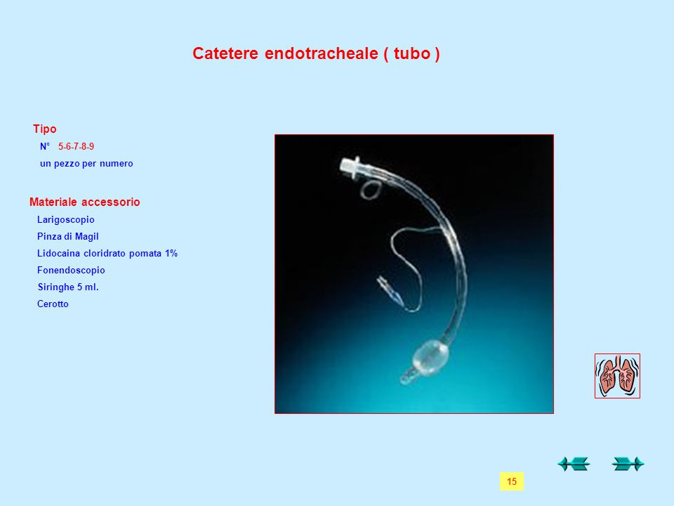 Catetere endotracheale ( tubo )