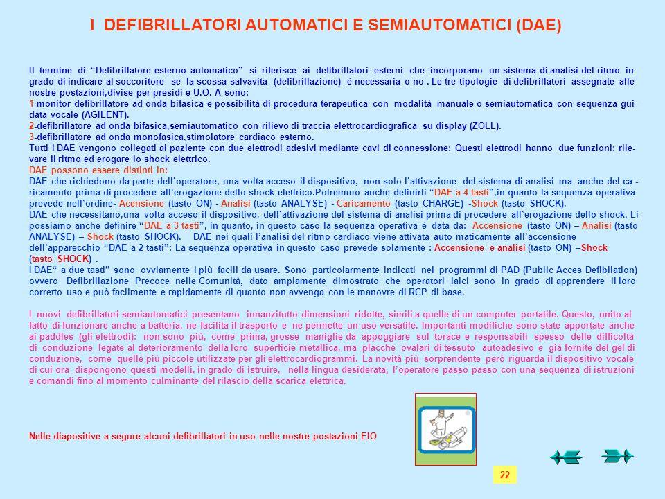 I DEFIBRILLATORI AUTOMATICI E SEMIAUTOMATICI (DAE)