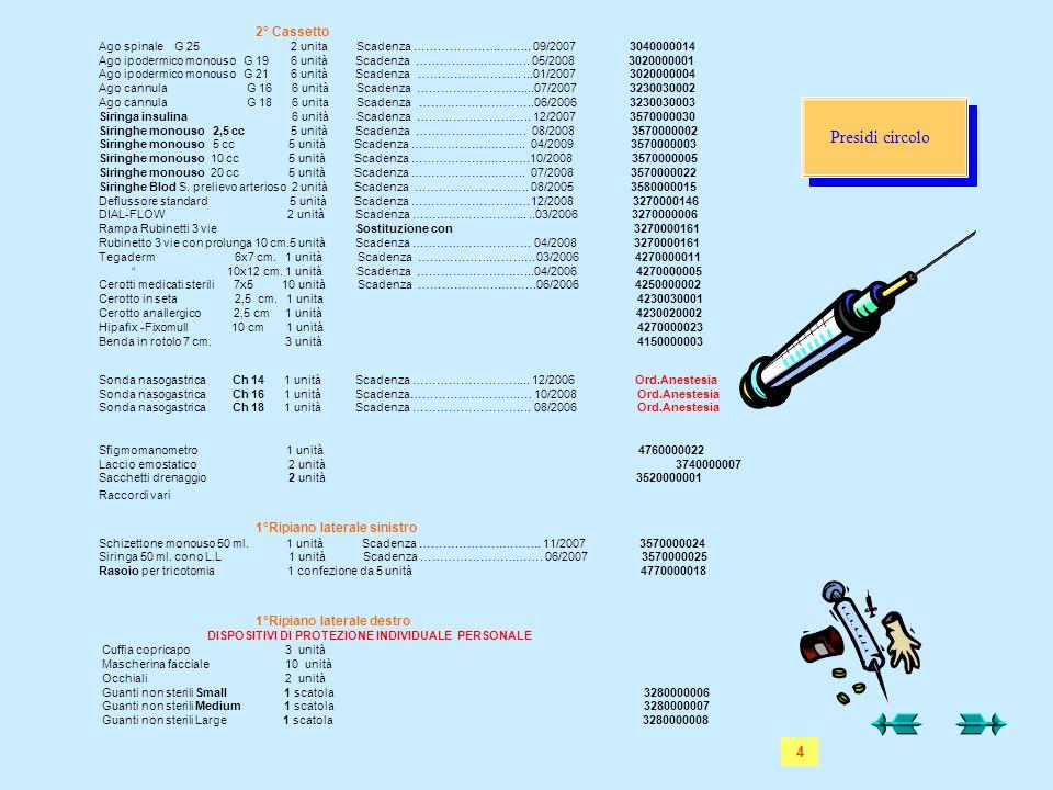 Presidi circolo 4 2° Cassetto 1°Ripiano laterale sinistro