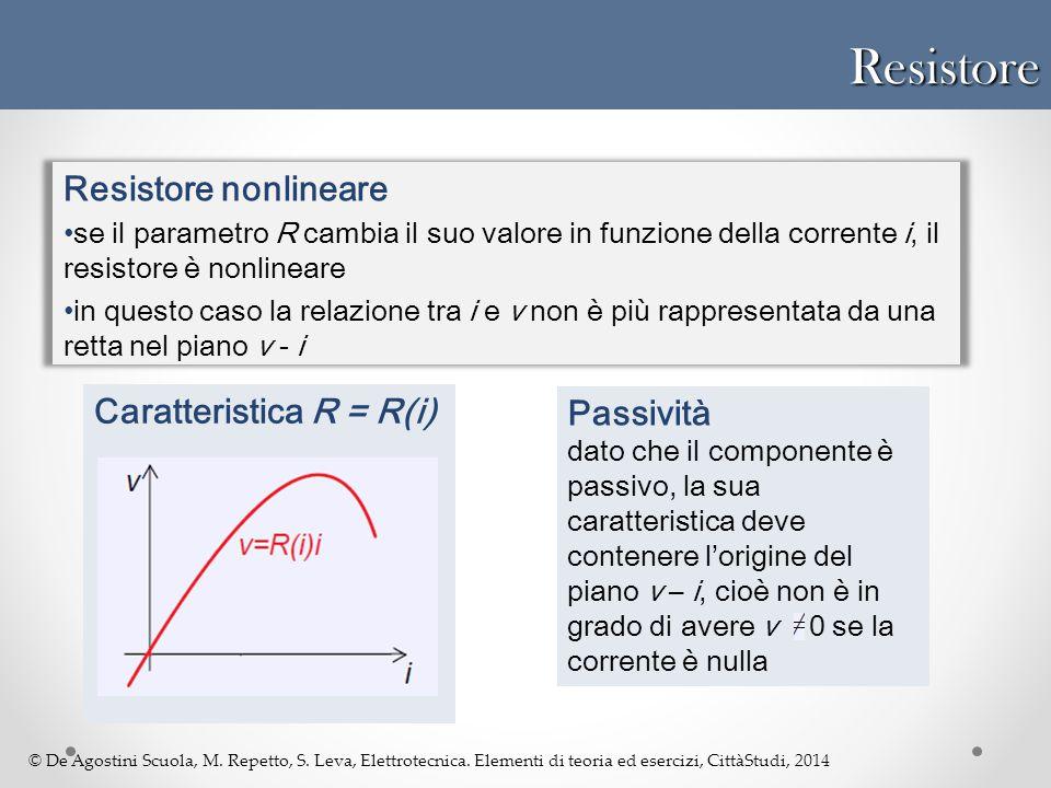 Resistore Resistore nonlineare Caratteristica R = R(i) Passività