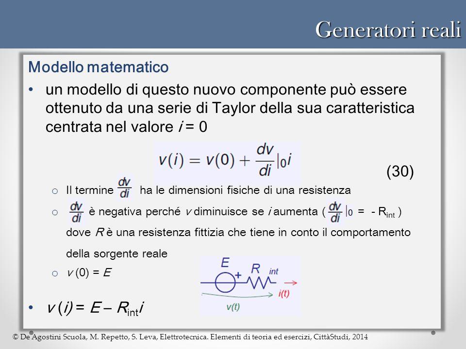 Generatori reali Modello matematico