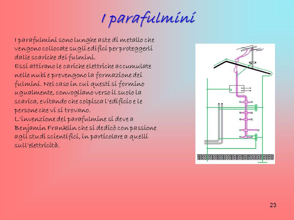 I parafulmini I parafulmini sono lunghe aste di metallo che vengono collocate sugli edifici per proteggerli dalle scariche dei fulmini.