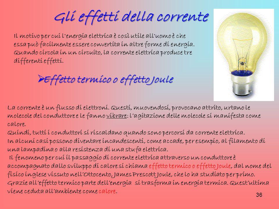 Gli effetti della corrente Effetto termico o effetto Joule