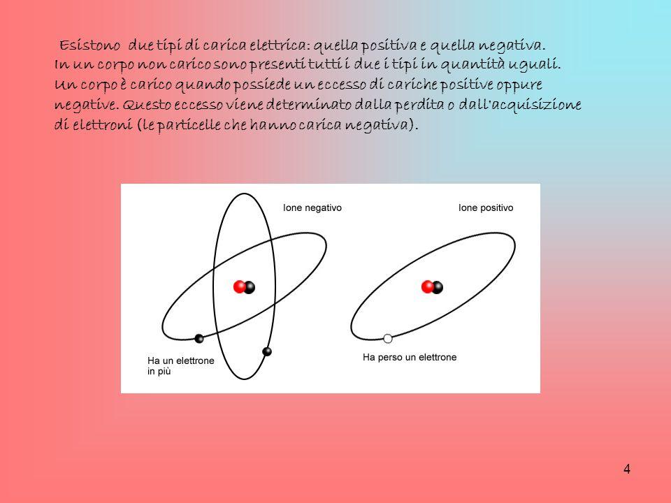 Esistono due tipi di carica elettrica: quella positiva e quella negativa.