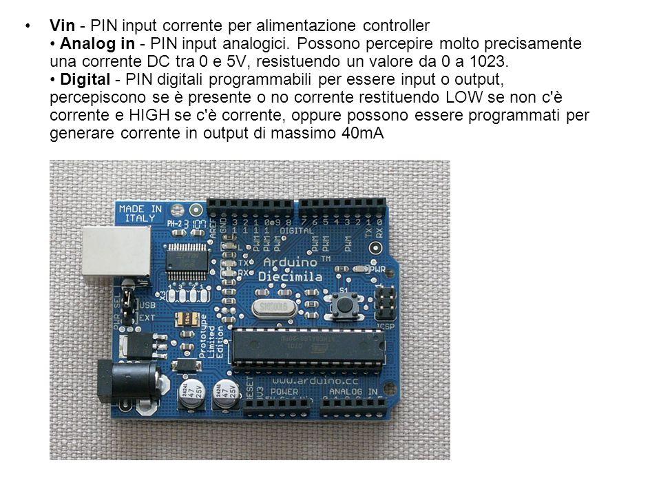 Vin - PIN input corrente per alimentazione controller • Analog in - PIN input analogici.