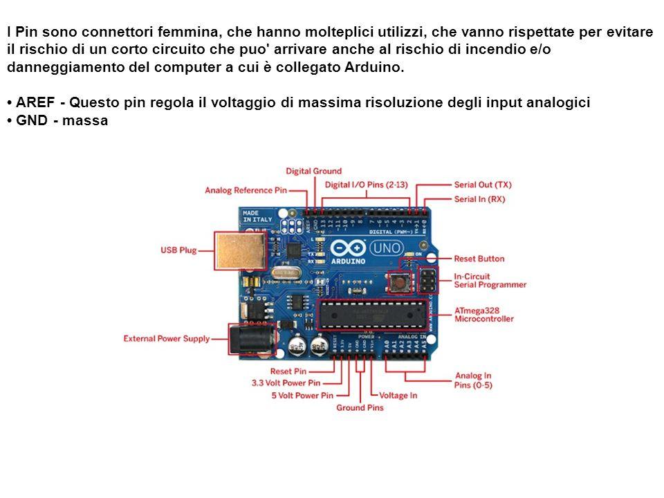 I Pin sono connettori femmina, che hanno molteplici utilizzi, che vanno rispettate per evitare il rischio di un corto circuito che puo arrivare anche al rischio di incendio e/o danneggiamento del computer a cui è collegato Arduino.