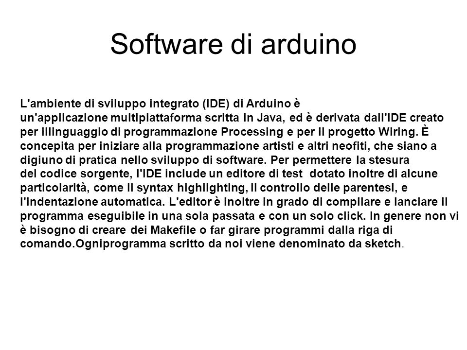Software di arduino