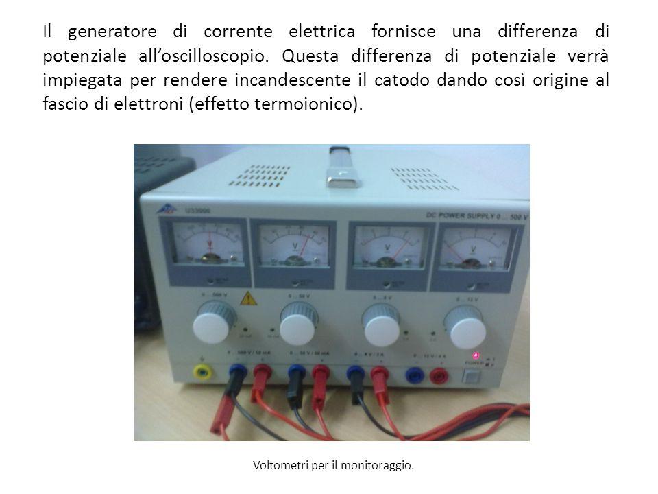 Il generatore di corrente elettrica fornisce una differenza di potenziale all'oscilloscopio. Questa differenza di potenziale verrà impiegata per rendere incandescente il catodo dando così origine al fascio di elettroni (effetto termoionico).