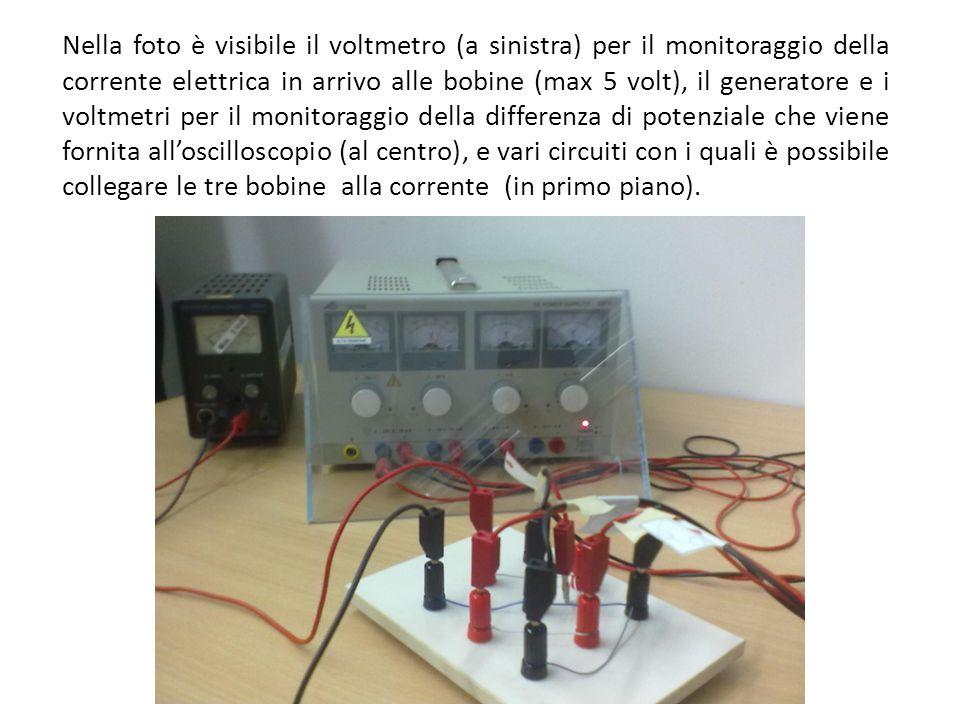 Nella foto è visibile il voltmetro (a sinistra) per il monitoraggio della corrente elettrica in arrivo alle bobine (max 5 volt), il generatore e i voltmetri per il monitoraggio della differenza di potenziale che viene fornita all'oscilloscopio (al centro), e vari circuiti con i quali è possibile collegare le tre bobine alla corrente (in primo piano).