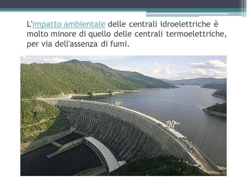 L impatto ambientale delle centrali idroelettriche è molto minore di quello delle centrali termoelettriche, per via dell assenza di fumi.