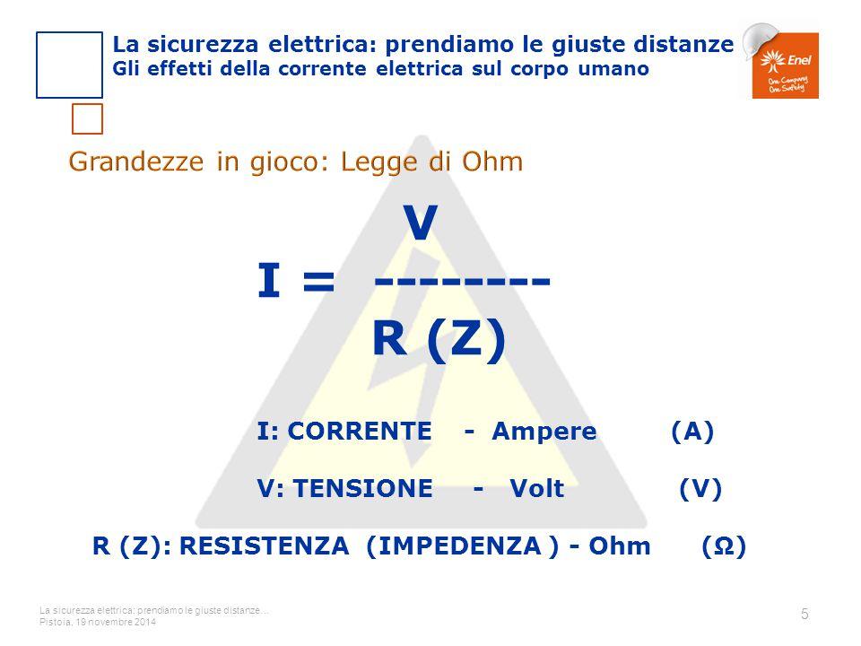 I: CORRENTE - Ampere (A) R (Z): RESISTENZA (IMPEDENZA ) - Ohm (Ω)