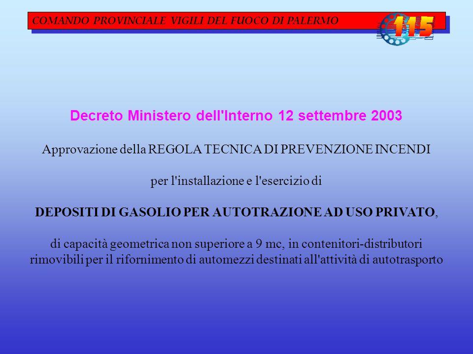 Decreto Ministero dell Interno 12 settembre 2003