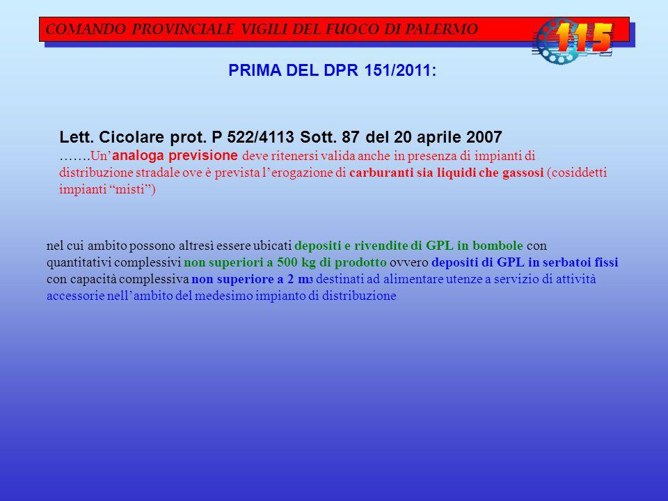 Lett. Cicolare prot. P 522/4113 Sott. 87 del 20 aprile 2007