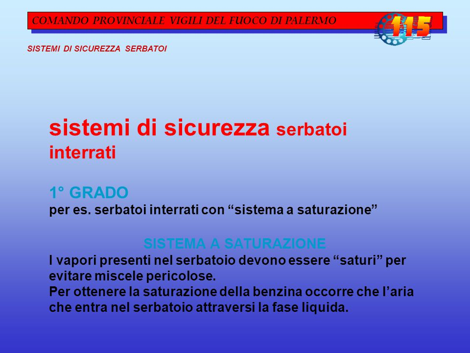 sistemi di sicurezza serbatoi interrati