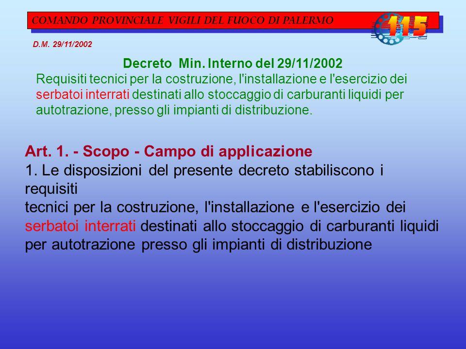 Decreto Min. Interno del 29/11/2002