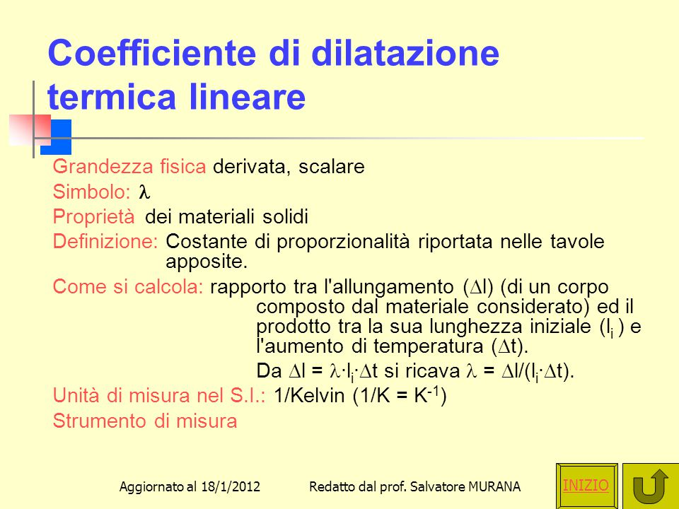 Coefficiente di dilatazione termica lineare