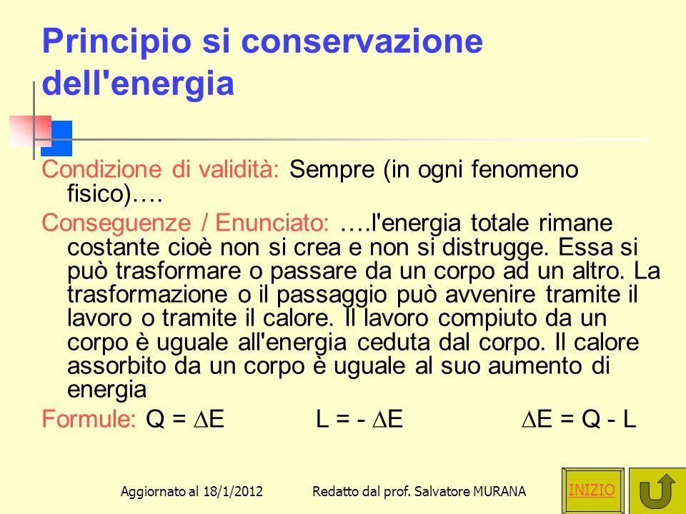 Principio si conservazione dell energia