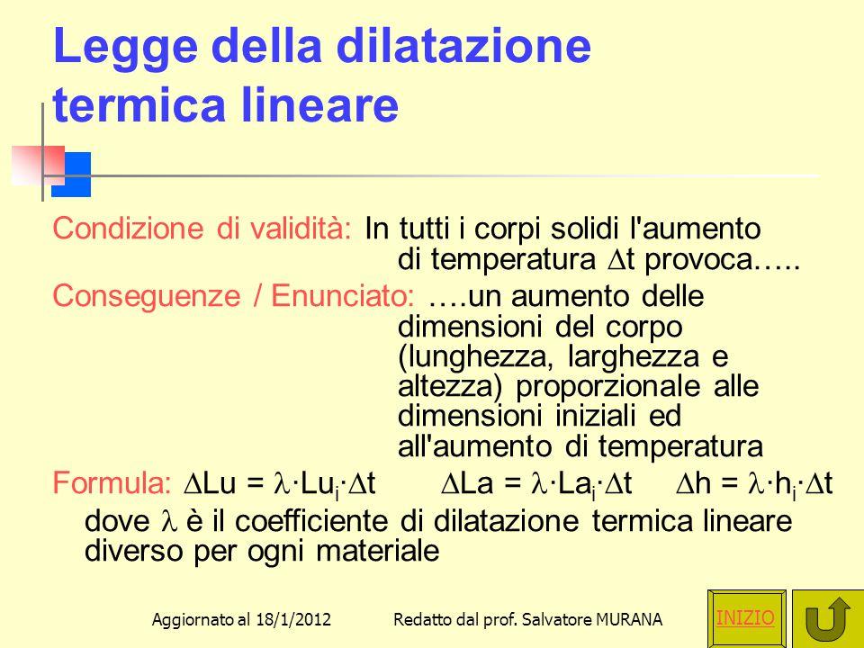 Legge della dilatazione termica lineare