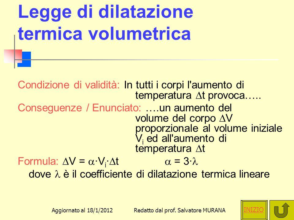 Legge di dilatazione termica volumetrica