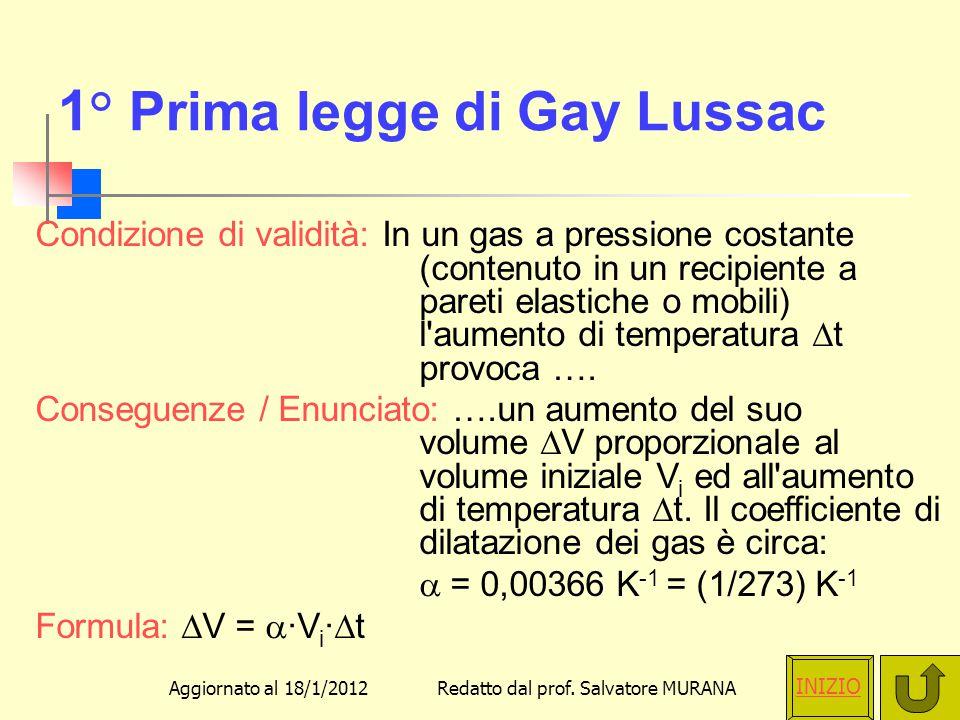 1° Prima legge di Gay Lussac
