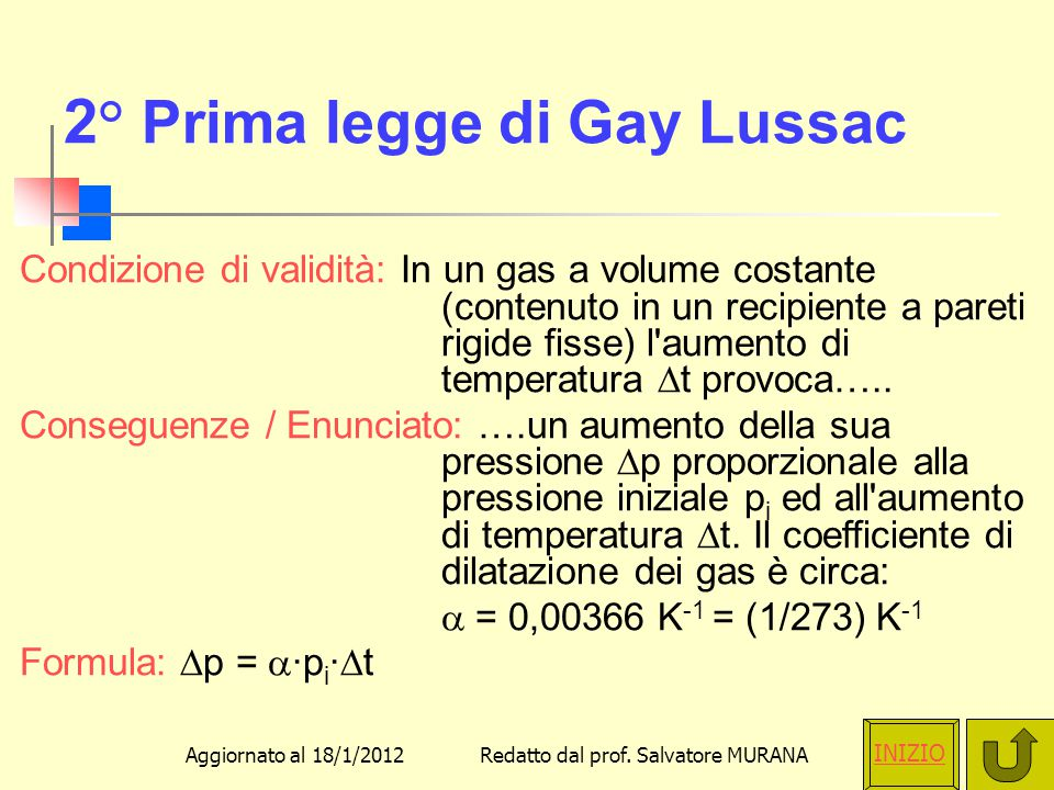 2° Prima legge di Gay Lussac