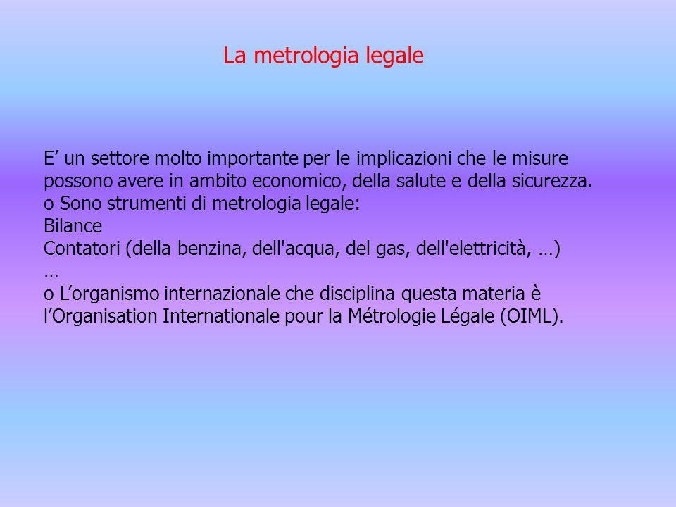La metrologia legale E' un settore molto importante per le implicazioni che le misure.