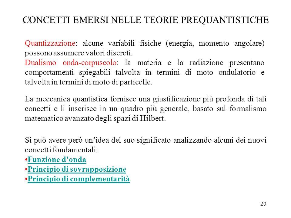 CONCETTI EMERSI NELLE TEORIE PREQUANTISTICHE
