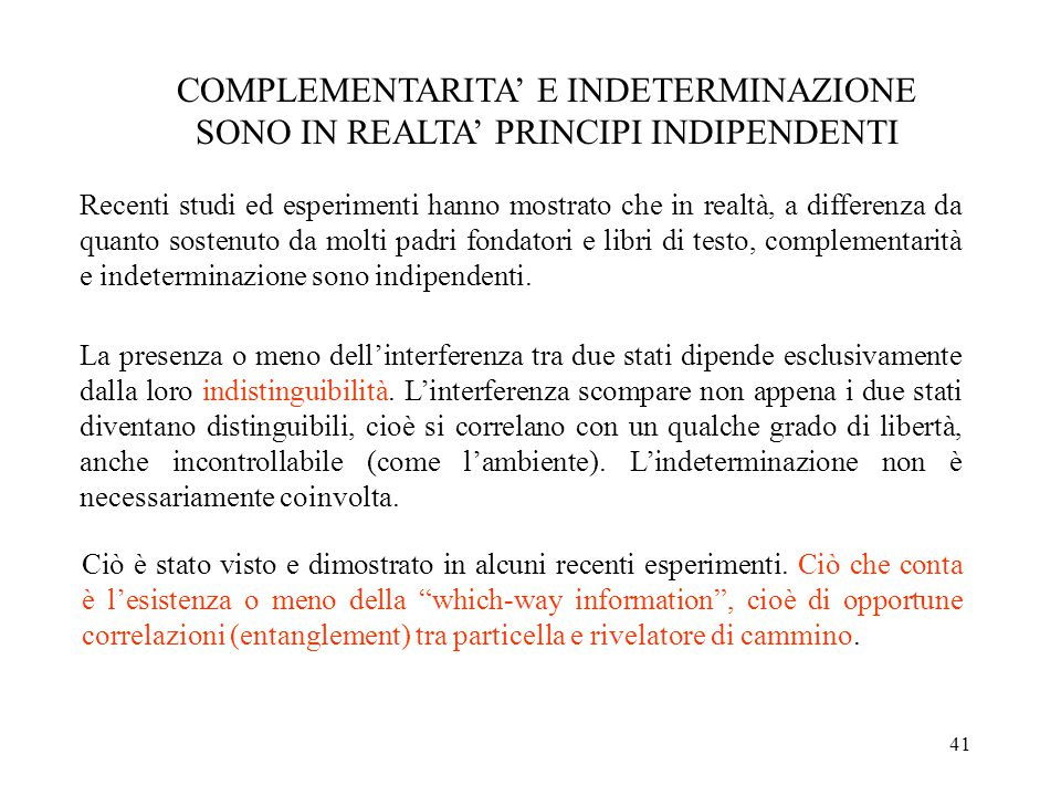 COMPLEMENTARITA' E INDETERMINAZIONE