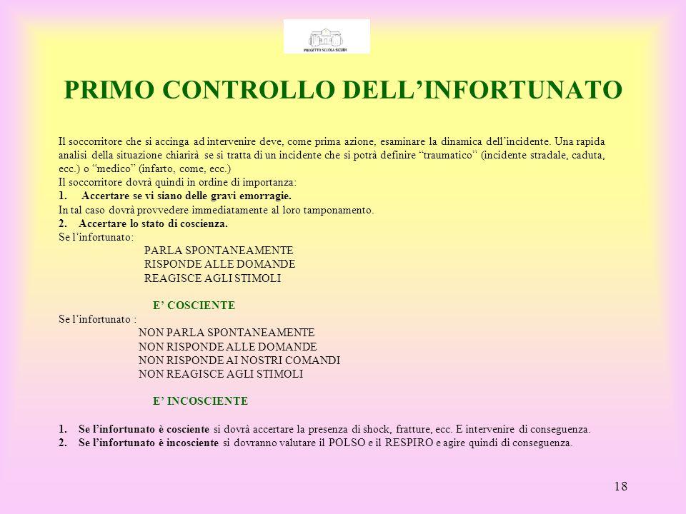 PRIMO CONTROLLO DELL'INFORTUNATO