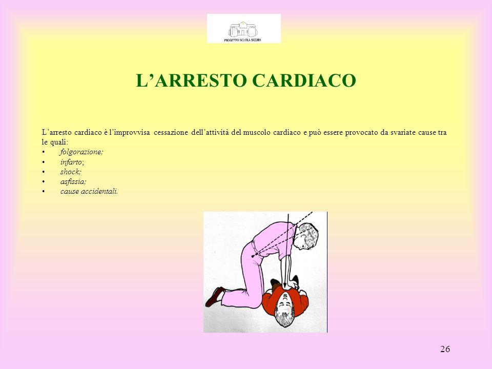 L'ARRESTO CARDIACO L'arresto cardiaco è l'improvvisa cessazione dell'attività del muscolo cardiaco e può essere provocato da svariate cause tra.