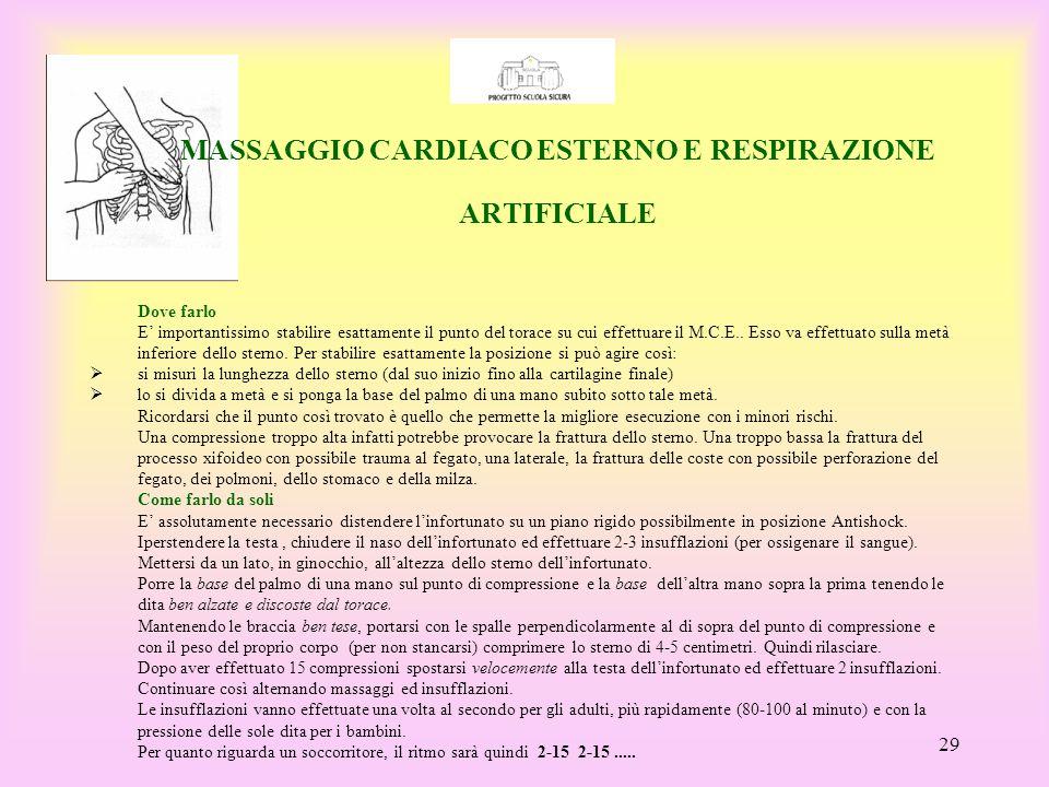 MASSAGGIO CARDIACO ESTERNO E RESPIRAZIONE ARTIFICIALE