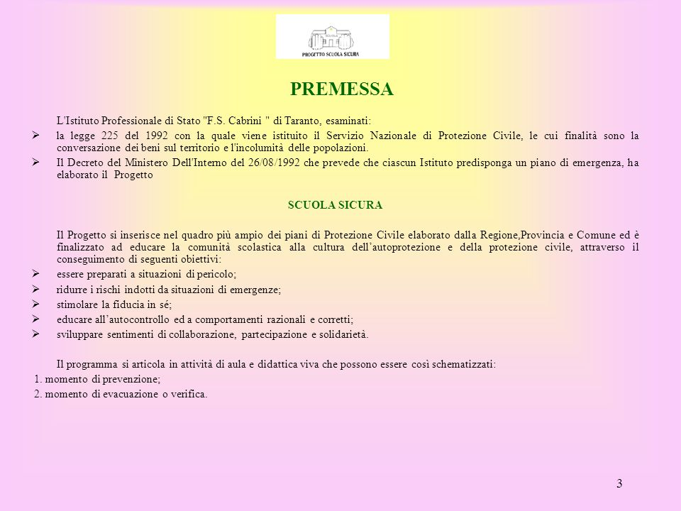 PREMESSA L Istituto Professionale di Stato F.S. Cabrini di Taranto, esaminati:
